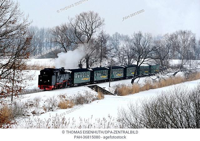 The Loessnitzgrundbahn runs between Moritzburg and Friedewald on the Dippelsdorfer dam near Friedewald, Germany, 25 January 2013