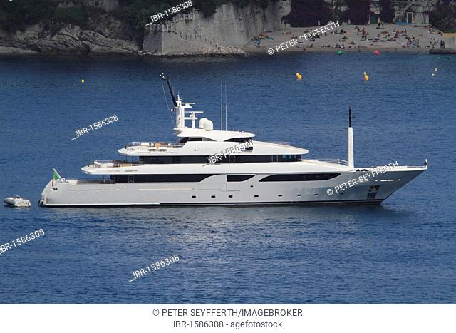 Yacht South, Rossi Navi shipyard, length 53.20 m, built in 2008, at anchor in the bay of Villefranche, on Cap Ferrat, Département Alpes Maritimes