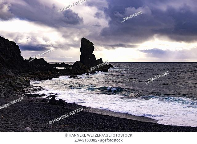 Kerling or the Troll woman at the Black Lava Pearl Beach on Snæfellsnes in West-Iceland