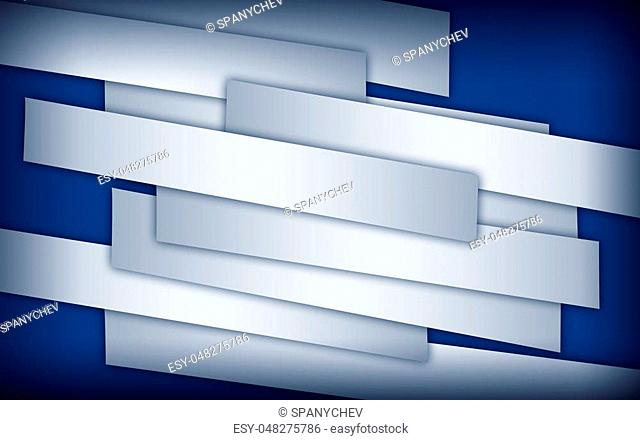 Abstract image of white paper strips on blue background with dark corners