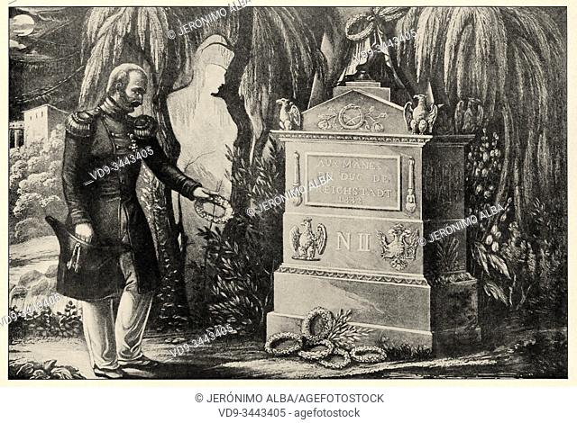 Veteran offering a crown to the Duke of Reichstadt, Napoléon II François Joseph Charles Bonaparte, (1811-1832). The shadow of Napoleon I watches over the tomb