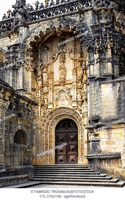 The entrance of the Convent of Christ church, Tomar, Portugal