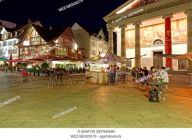 Austria, Dornbirn, People at market square