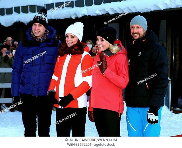 The Duke and Duchess of Cambridge visit the Holmenkollen Ski Jump and watch junior Norwegian ski jumpers landing. Featuring: Prince William, Duke of Cambridge
