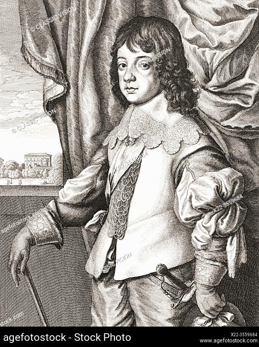 King Charles II of England, 1630 - 1685, seen here as a child. From a 17th century work by Wenceslaus Hollar, after Anthony van Dyck