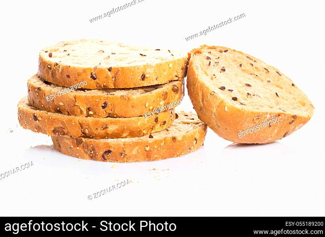 Bakery. Delicious bread on white background