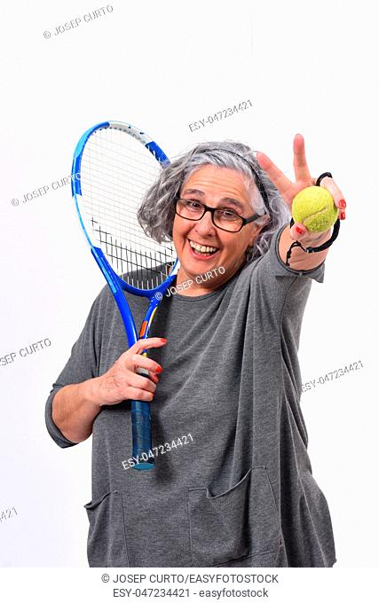 woman playing tennis on white background