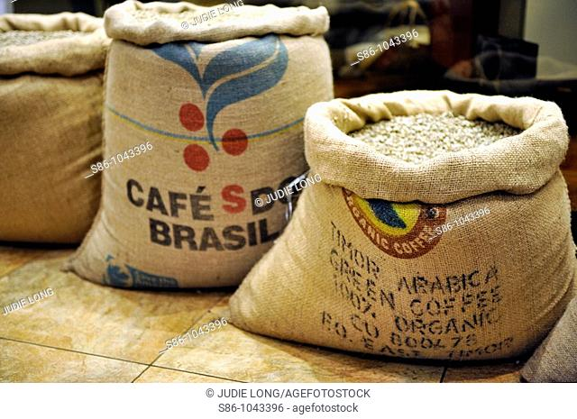 Burlap Bags of Green, Unroasted Coffee Beans