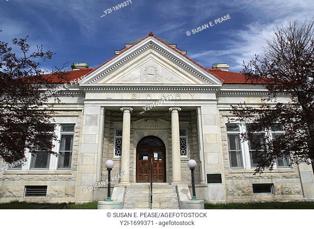 The Lee Library, Lee, Massachusetts, was built out of marble quarried from the town in 1907, and was financed in part by a donation from Andrew Carnegie  When...