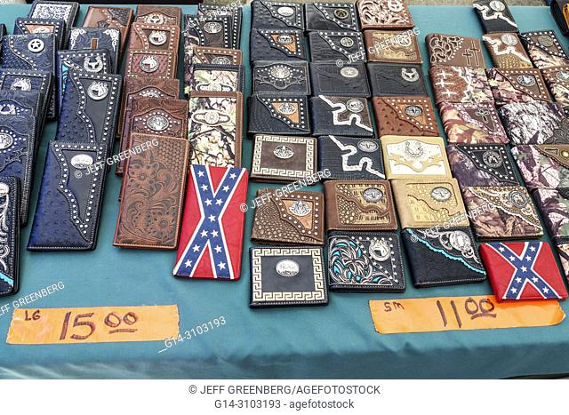 Florida, Micanopy, Fall Harvest Festival, annual small town community event, booths stalls vendors buying selling, shopping, tooled painted leather wallets
