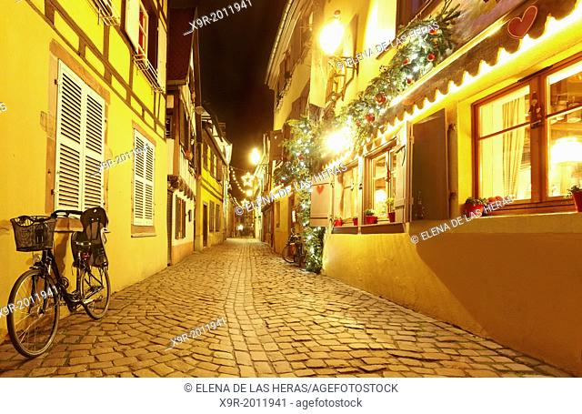 """""""""""La Petite Venise"""" (Little Venice) restaurant with Christmas decoration. Colmar. Wine route. Haut-Rhin. Alsace. France"