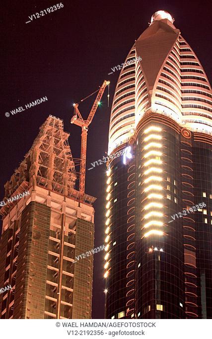 Buildings on Sheik Zayed Road and Burj Khalifa, Dubai, United Arab Emirates