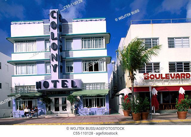 Art Deco Area. Ocean Drive. Miami Beach. Florida. USA