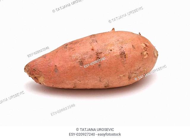 Fresh organic sweet potato on white background