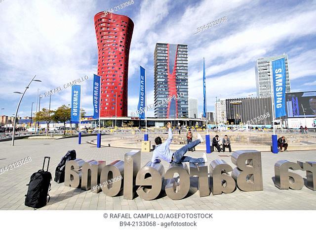 Europe square from Gran Via Fira de Barcelona. Porta Fira hotel and Realia tower by architect Toyo Ito. Mobile World Congress, Barcelona, Catalonia, Spain