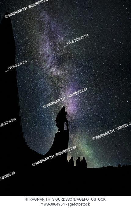 Leif Ericsson, Milky Way and Aurora Borealis, Reykjavik, Iceland