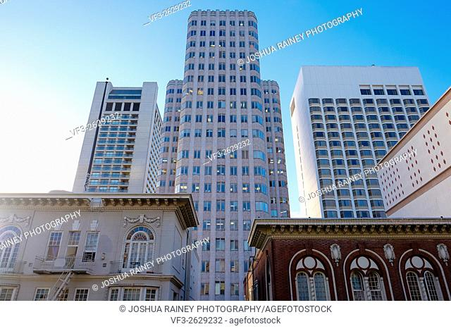 Old buildings in downtown San Francisco California on Nob Hill