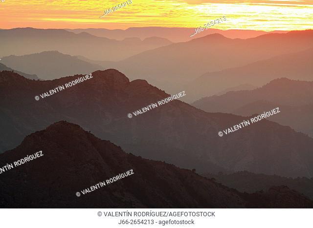 mountainous landscape at sunset in Els Ports. View taken from Les Roques de Benet in Horta de San Joan. Tarragona