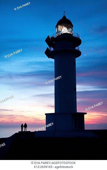 Sunset at the lighthouse of Es Cap de Barbaria. Formentera (Balearic Islands)