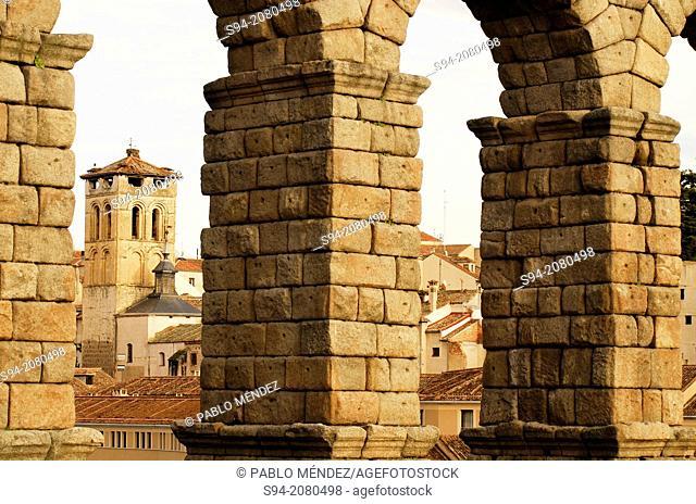 Detail of the aqueduct of Segovia, Spain