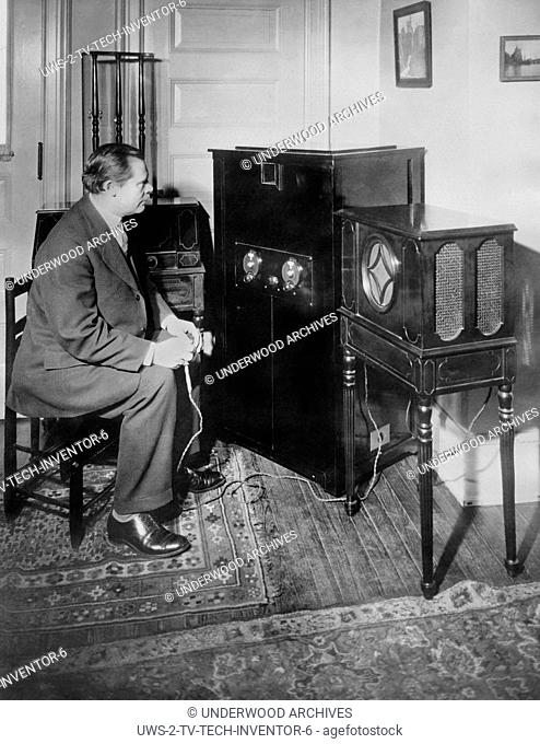 Schenectady, New York: January 14, 1928.Dr. E.F. Alexanderson of GE and RCA and inventor of the radio television process where a listener can see as well as...