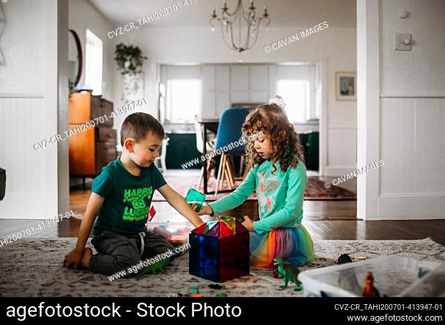 Brother and sister playing with magnetic tiles in living room