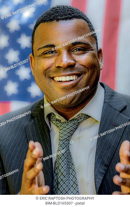 Close up of Black politician smiling