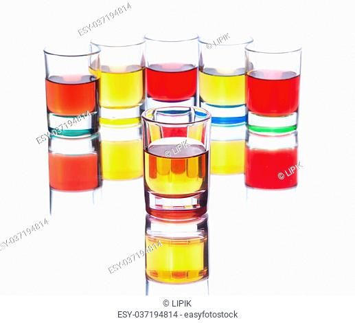 Set from alcohol drinks on white background