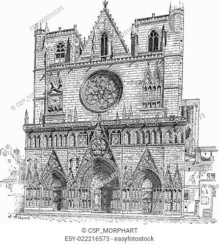 Lyon Cathedral in Lyon, France, vintage engraving