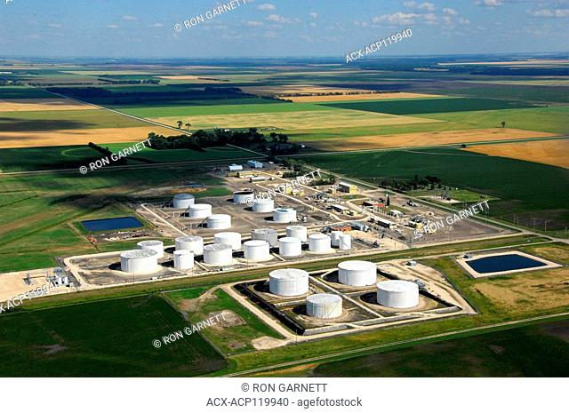 aerial, Enbridge pipeline terminal, Gretna, Manitoba