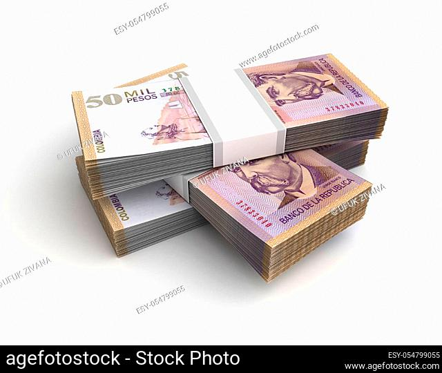 Stack of Colombian Pesos (Isolated on white background)
