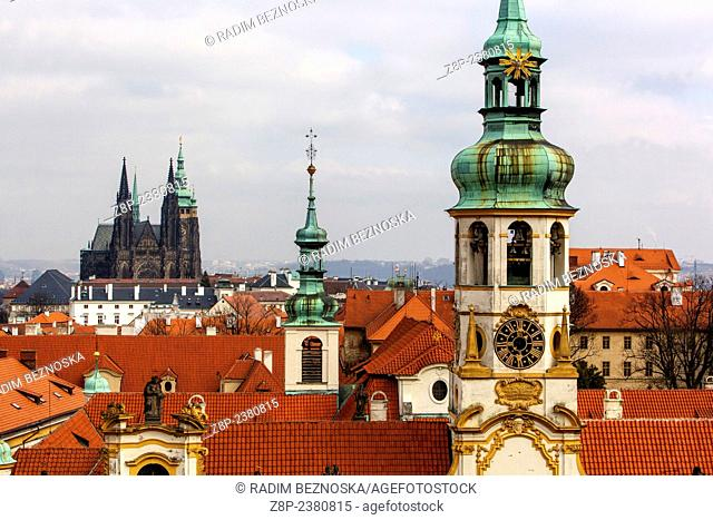 In the foreground, Loreta. View of Prague Castle