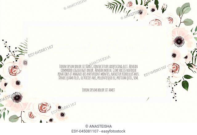 Card with leaves and flowers. Floral poster, invite. Vector decorative greeting card, invitation design background