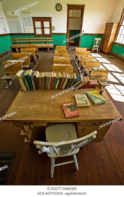Interior of St. John' s Schoolhouse, 1911 one room schoolhouse, Leader, Saskatchewan, Canada