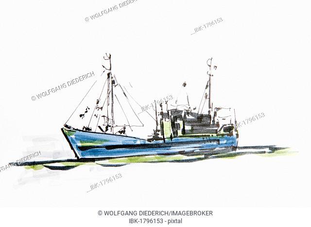 Shrimp boat, drawing by Gerhard Kraus, Kriftel, Germany