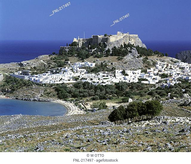 High angle view of a town at the hillside, Lindos, Rhodes, Dodecanese Islands, Southern Aegean, Greece