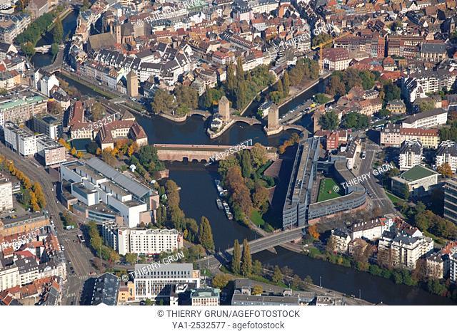 France, Bas Rhin 67, Strasbourg city, la Petite France area aerial view