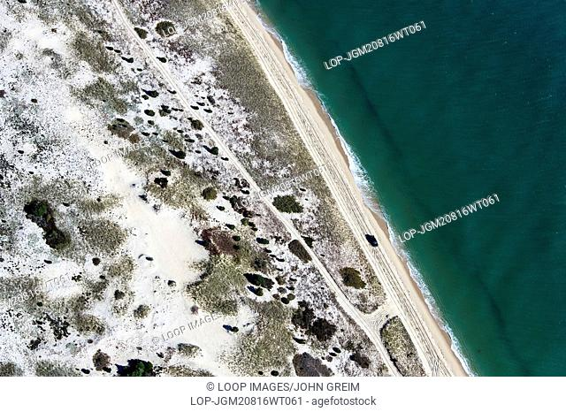 Aerial view of Chappaquiddick Island beach