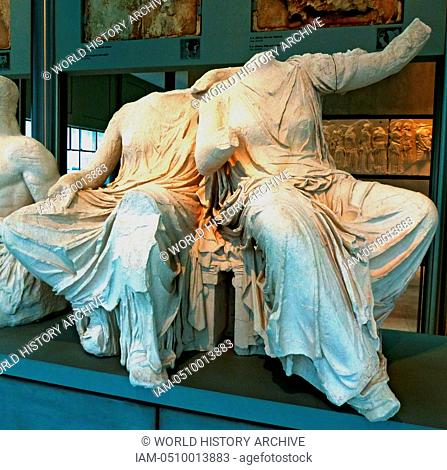 Persephone and Demeter from a section of the East pediment of the Parthenon, housed in the New Acropolis Museum, Athens