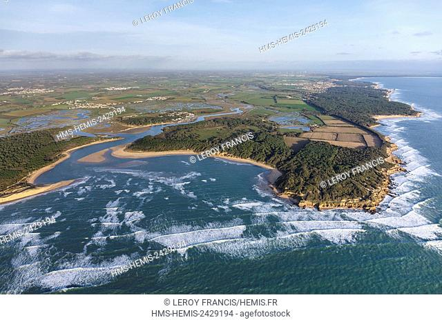 France, Vendee, Talmont Saint Hilaire, the Havre du Payre and the Veillon beach (aerial view)