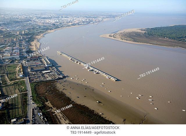 aerial view of the river Guadalquivir and the Port of Bonanza, Sanlucar de Barrameda, Cadiz, Doñana Natural Park, Spain, Europe
