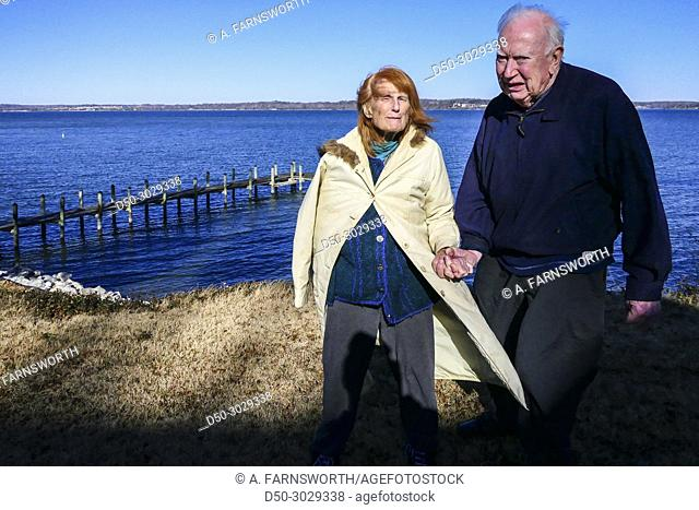 Cheasapeake Bay, Point Lookout, Maryland, USA. Retired couple