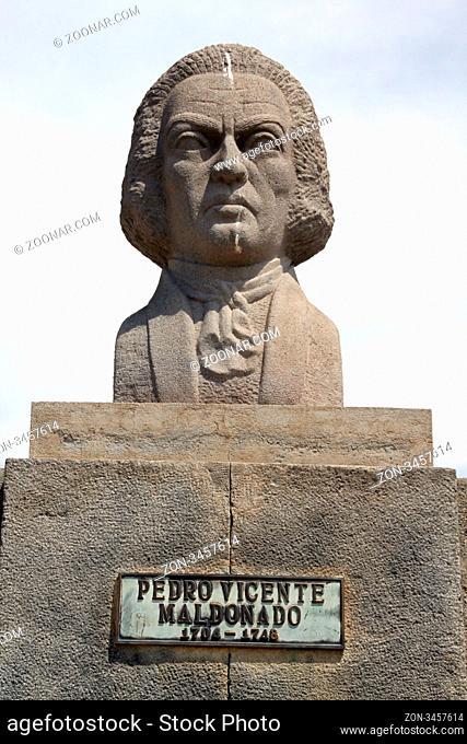Bust of Pedro Vicente near monument of ecuator near Quito in Ecuador