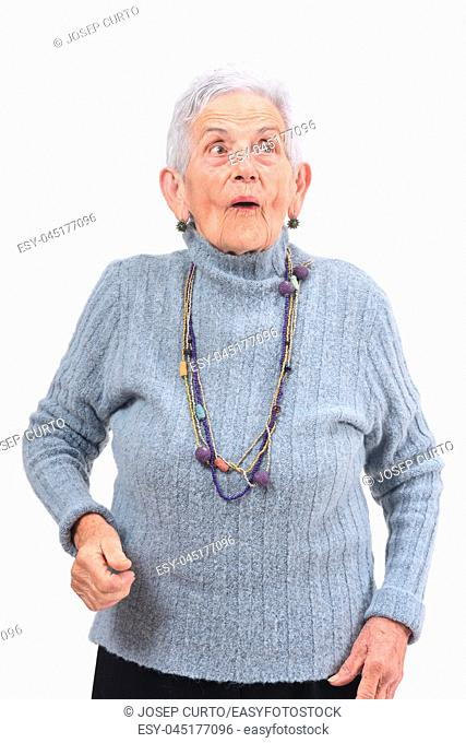 senior woman with expression of surprise on white background
