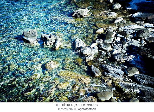 Sea and rocks. Mediterranean sea, Mahon, Minorca, Balearic Islands, Spain