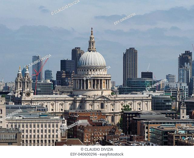 View of the City of London and Saint Paul cathedral