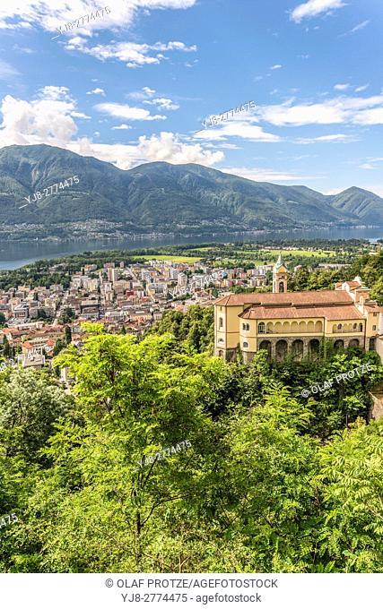 View from the Santuario della Madonna del Sasso at Locarno and Lago Maggiore, Ticino, Switzerland
