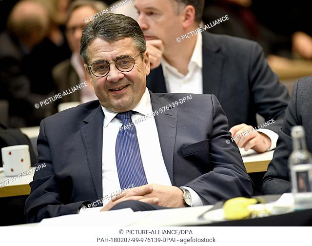 Sigmar Gabriel of the Social Democratic Party (SPD), the German Foreing Minister, attends the faction meeting in the German Bundestag in Berlin, Germany