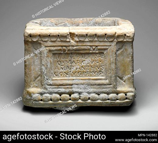 Marble cinerary chest. Period: Early Imperial; Date: 1st century A.D; Culture: Roman; Medium: Marble; Dimensions: Overall: 6 1/2 x 8 7/8 x 6 1/2 in