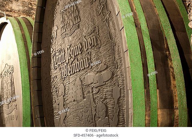 A barrel of wine at the Seggau Castle vineyard Steiermark, Austria